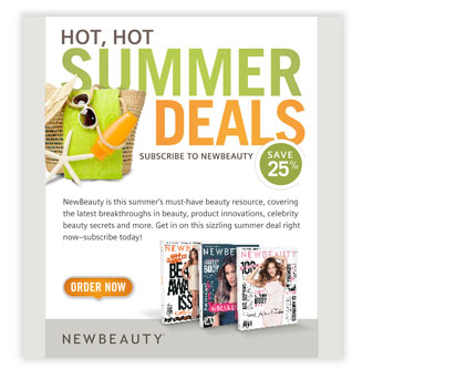 subscription email design for summer specials