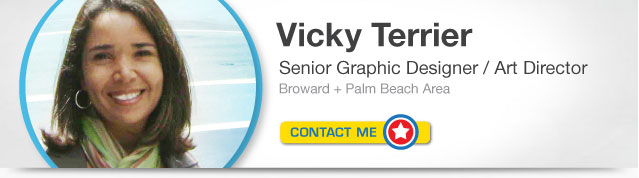 Contact Graphic Designer, Vicky Terrier